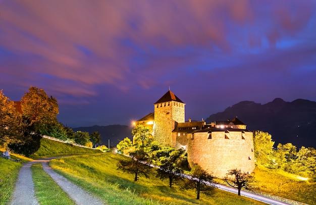 Widok na zamek vaduz w liechtensteinie w nocy