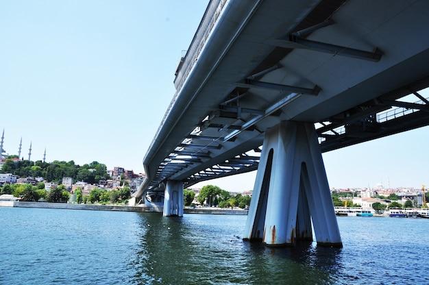 Widok panoramiczny na most nad zatoką, brzeg z drzewami. słoneczny letni dzień w mieście.