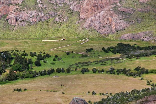 Widok panoramy zamknij fitz roy, el chalten, patagonia, argentyna