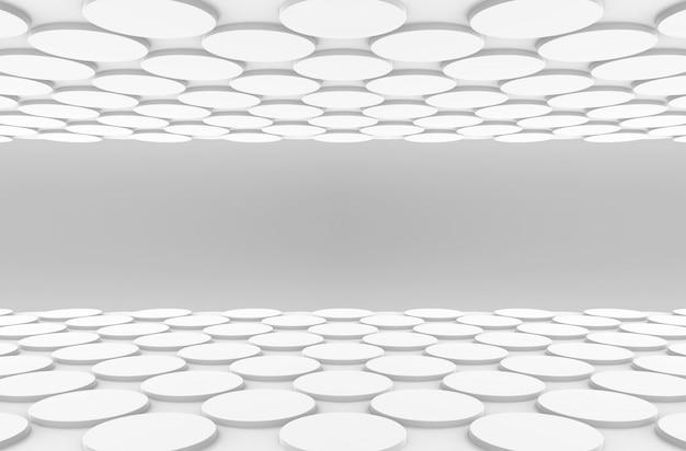 Widok perspektywiczny białe okrągłe przycisk kształt wzór podłogi