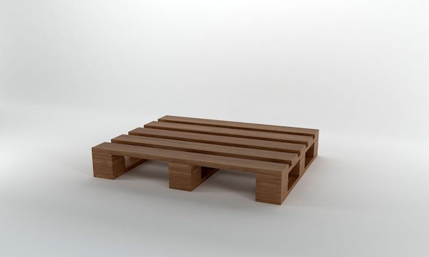 Widok perspektywiczny brązowy drewniana paleta renderowania 3d