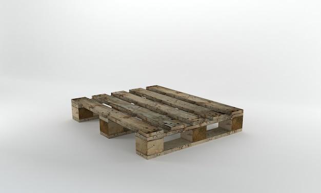 Widok perspektywiczny drewniana paleta renderowania 3d