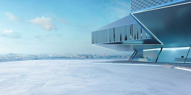 Widok perspektywiczny pustej podłogi cementowej ze stali i szkła na zewnątrz nowoczesnego budynku. scena poranna. fotorealistyczne renderowanie 3d.