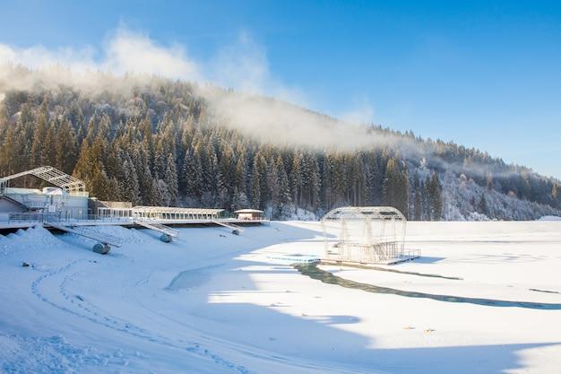 Widok pięknych śnieżnych gór i lasu