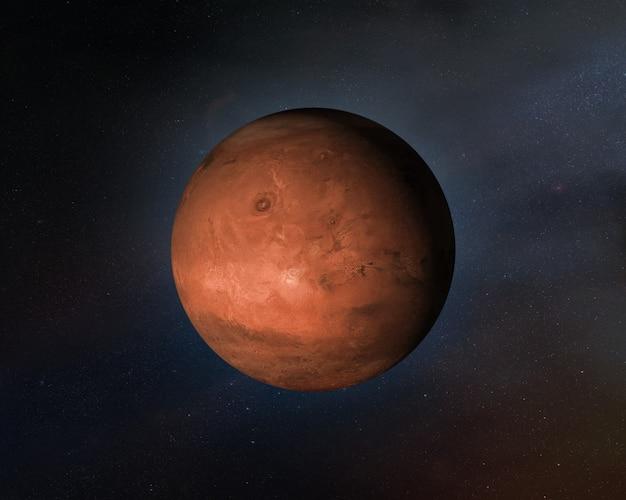 Widok planety mars w przestrzeni kosmicznej.
