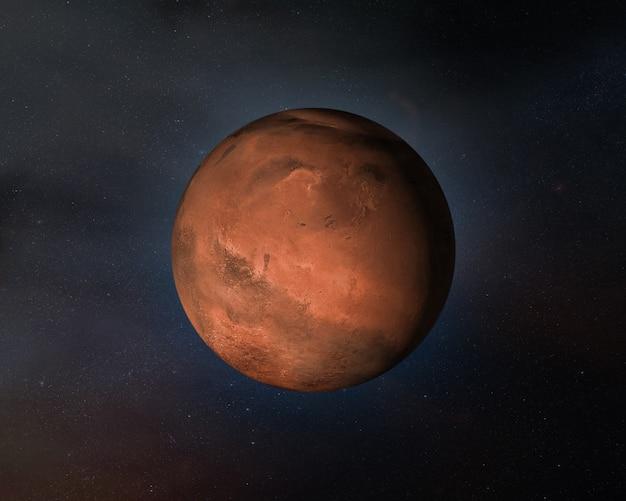 Widok planety mars w przestrzeni kosmicznej