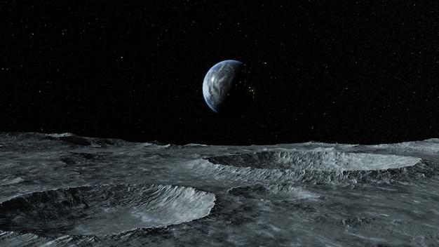 Widok planety ziemia z powierzchni księżyca. przestrzeń bezpowietrzna.