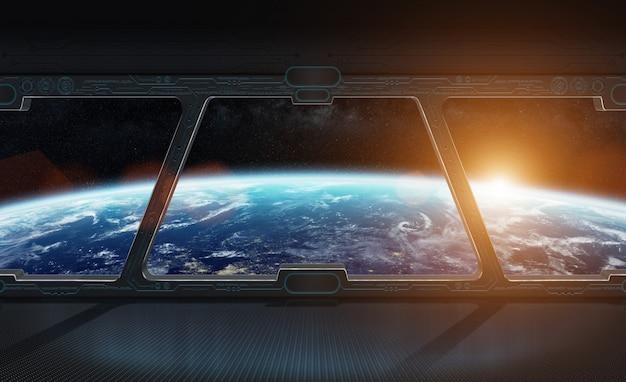 Widok planety ziemia z wnętrza stacji kosmicznej renderingu 3d