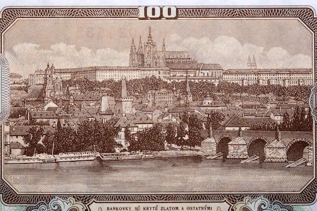 Widok pragi ze starych czechosłowackich pieniędzy