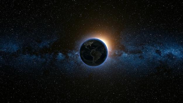 Widok przestrzeni na planecie ziemia i słońce we wszechświecie