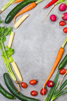 Widok roślinny i warzyw z góry