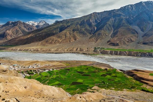 Widok spiti dolina i spiti rzeka w himalajach, india