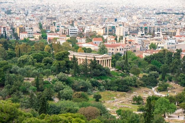 Widok świątyni hefajstosa z akropolu