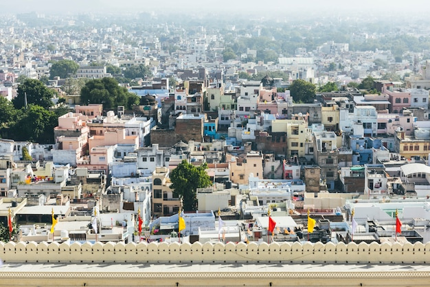 Widok udaipur miasto od miasto pałac w rajasthan, india