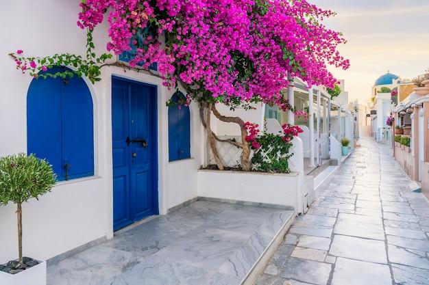 Widok ulicy oia w godzinach porannych, santorini, grecja