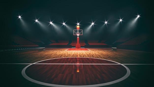 Widok wewnątrz oświetlonego stadionu do gry w koszykówkę