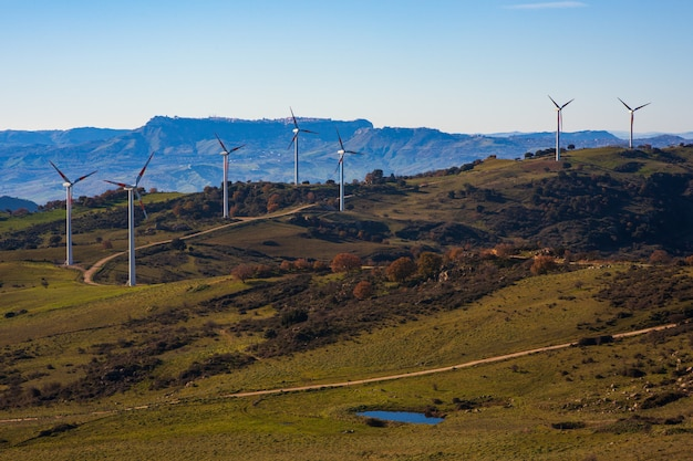 Widok wiatraków na sycylijskiej wsi