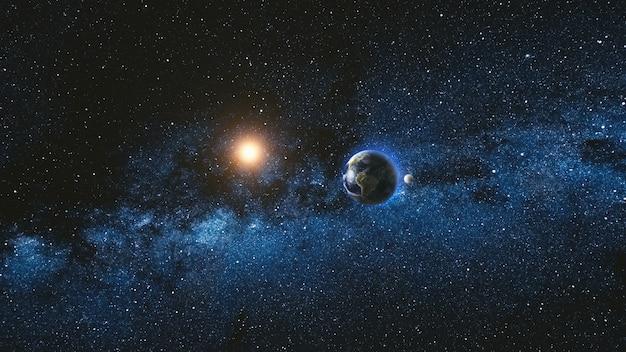Widok wschód słońca z kosmosu na planecie ziemia i księżyc obracający się w przestrzeni. błękitne niebo droga mleczna z tysiącami gwiazd w tle. koncepcja astronomii i nauki. elementy obrazu dostarczone przez nasa