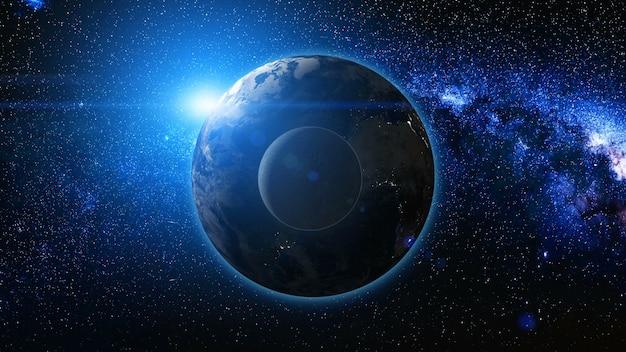 Widok wschód słońca z kosmosu na planecie ziemia i księżyc. świat obracający się wokół własnej osi wśród gwiazd. wysoka szczegółowa animacja renderowania 3d. elementy tego obrazu dostarczone przez nasa. koncepcja astronomii i nauki.