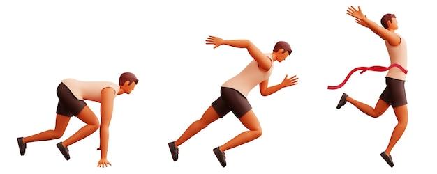 Widok z boku 3d młody człowiek działa krok po kroku na białym tle.