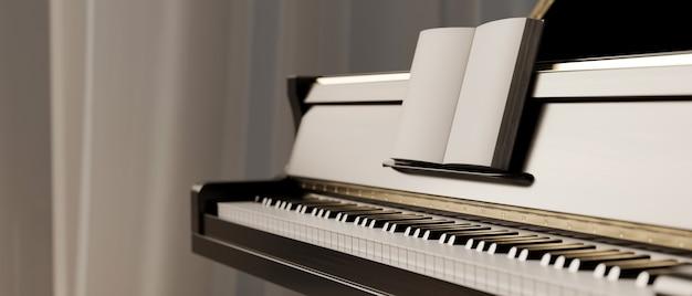 Widok z boku klasycznego fortepianu z książką muzyczną czarno-biały fortepian klasyczny instrument ilustr instrument
