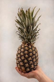 Widok z boku kobiecej ręki trzymającej świeżego ananasa na szarej ścianie