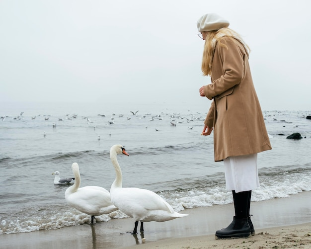 Widok z boku kobiety na plaży zimą z łabędziami