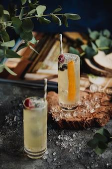 Widok z boku koktajli z lodem i słomką ozdobione jagodami na drewnianym stojaku