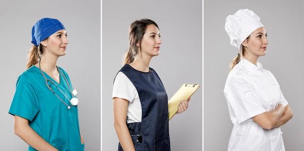 Widok z boku kolekcji kobiet wykonujących różne prace