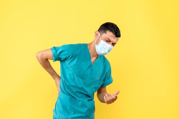 Widok z boku lekarza w masce