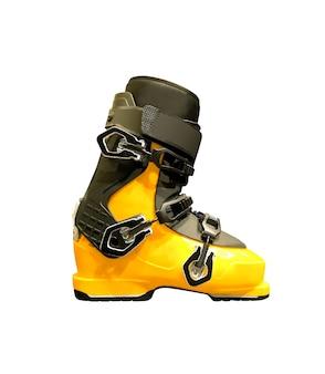 Widok z boku na buty narciarskie. sprzęt sportowy na białym tle na białej powierzchni