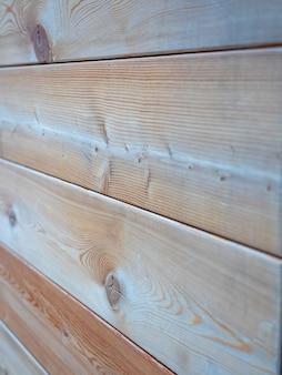 Widok z boku na ścianę drewnianą obszytą imitacją drewna. selektywne skupienie, drewniane tło