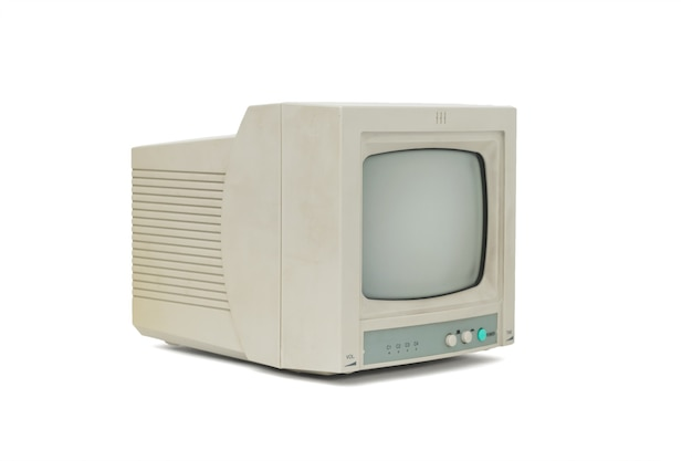 Widok z boku na szary monitor retro na białym tle na białym tle. wyposażenie retro.