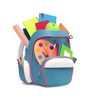 Widok z boku niebieskiego szkolnego plecaka z długopisami i zeszytami na białym tle