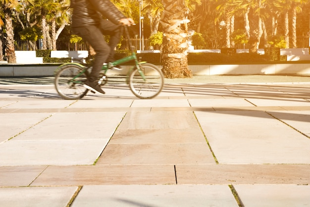 Widok z boku osoby jadącej na rowerze w parku