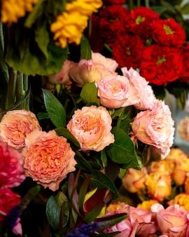 Widok z boku piwonie róż
