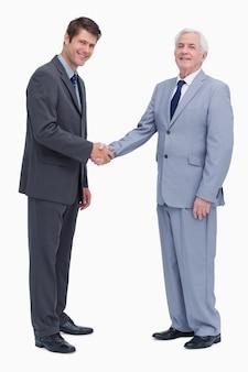 Widok z boku przedsiębiorców drżenie rąk