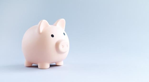 Widok z boku różowy skarbonka. koncepcja oszczędzania pieniędzy