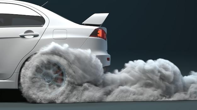 Widok z boku zbliżenie wyjeżdżającego samochodu