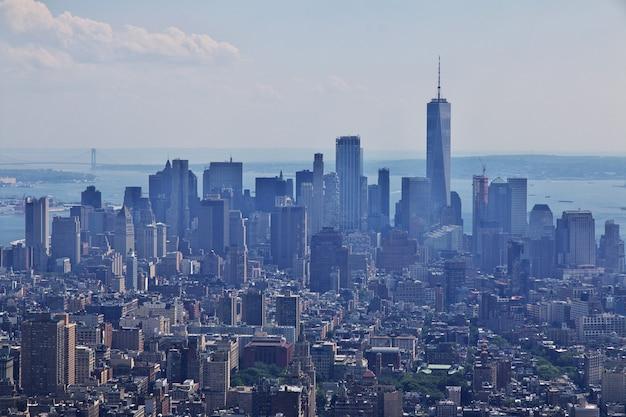 Widok z empire state building w nowym jorku, stany zjednoczone