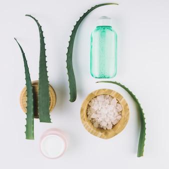 Widok z góry aloes z narzędziami kosmetycznymi i kosmetykami