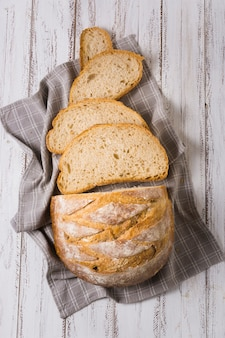 Widok z góry aromatyczne kromki chleba
