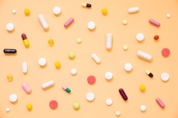 Widok z góry asortyment tabletek
