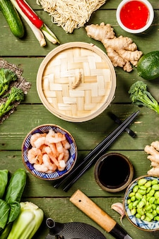 Widok z góry azjatyckie jedzenie