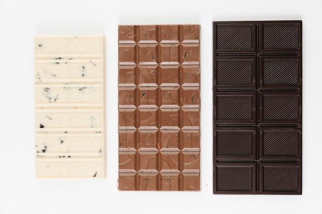 Widok z góry batony czekoladowe