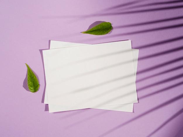 Widok z góry białe księgi z cieniami