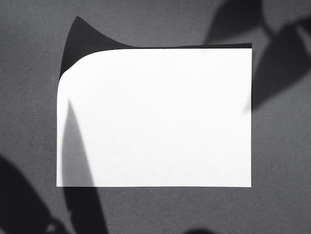 Widok z góry białego papieru z cieniami