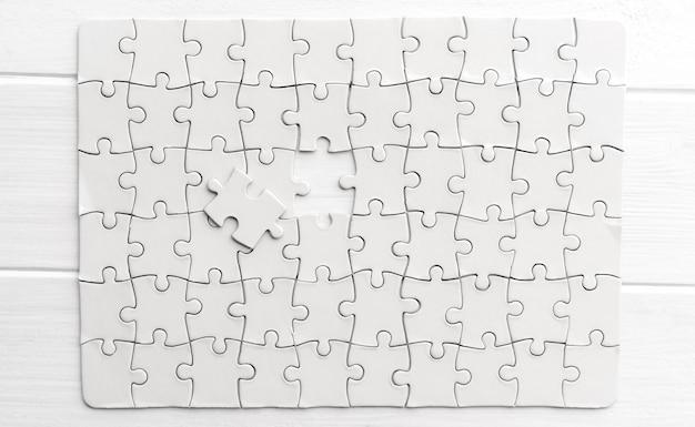 Widok z góry białej układanki