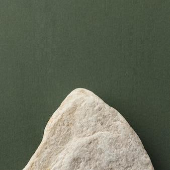 Widok z góry biały kamień z miejsca na kopię