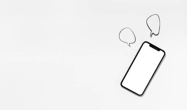 Widok z góry biurko minimalne miejsce na kopię telefon komórkowy